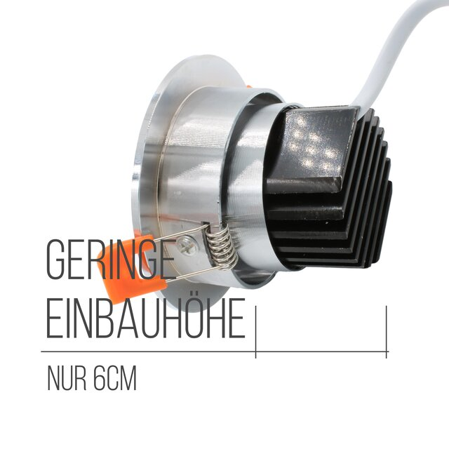 SpiceLED Einbau-LED-Strahler | DownLED-6 | 6W warmweiß 230V | High-Power LED Deckenstrahler dimmbar